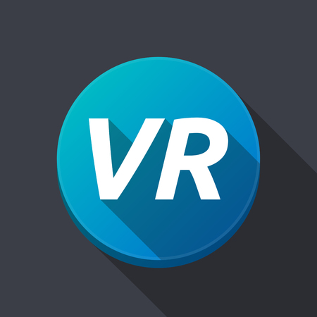 Illustration of along shadow  round button with    the virtual reality acronym VR