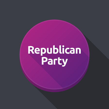 Illustration of a long shadow round web button with  the text  Republican  Party