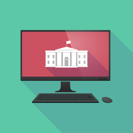 dc: Illustration of a long shadow personal computer with  the White House building