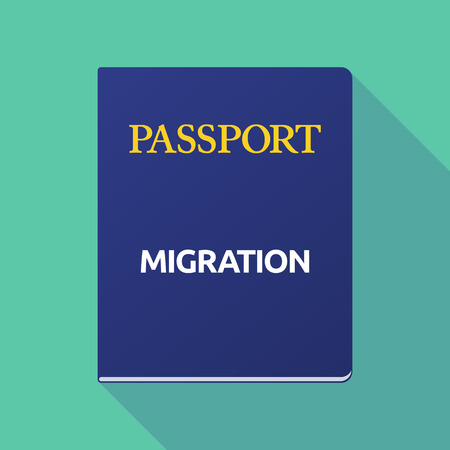 Illustration of a long shadow  passport with  the text MIGRATION Illustration