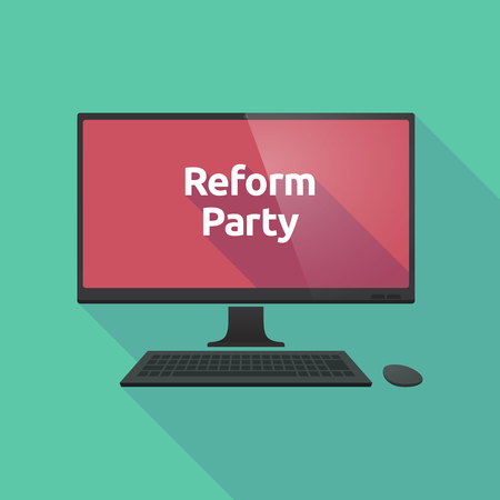 Illustration of a long shadow personal computer with  the text Reform Party