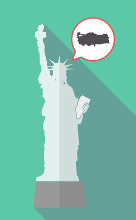 Illustration of a long shadow statue of liberty with a comic balloon and  a map of Turkey