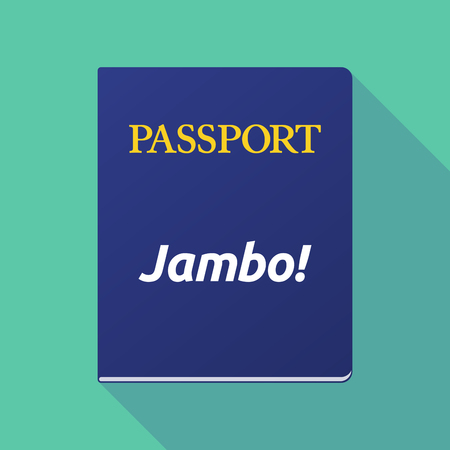 swahili: Illustration of a long shadow  passport with  the text Hello! in the swahili language