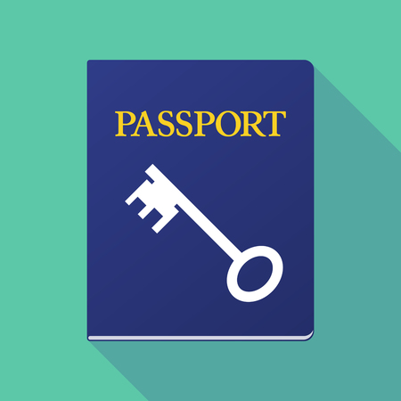 documentation: Illustration of a long shadow  passport with  a vintage key Illustration