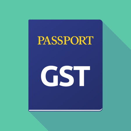emigration: Illustration of a long shadow  passport with  the Goods and Service Tax acronym GST