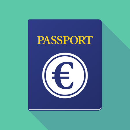 documentation: Illustration of a long shadow  passport with  an euro coin Illustration