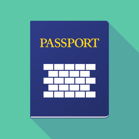 emigration: Illustration of a long shadow  passport with  a brick wall Illustration