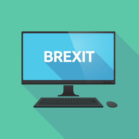 Illustration of a long shadow personal computer with  the text BREXIT Illustration