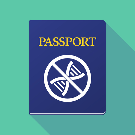 allowed to pass: Illustration of a long shadow  passport with  a DNA sign in a not allowed signal