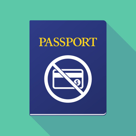 documentation: Illustration of a long shadow  passport with  a credit card  in a not allowed signal