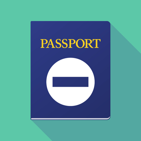 Illustration of a long shadow  passport with  a no trespassing signal