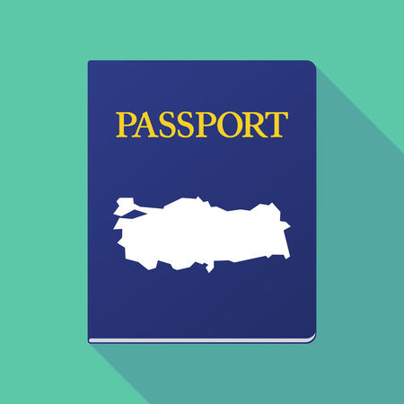documentation: Illustration of a long shadow  passport with  a map of Turkey