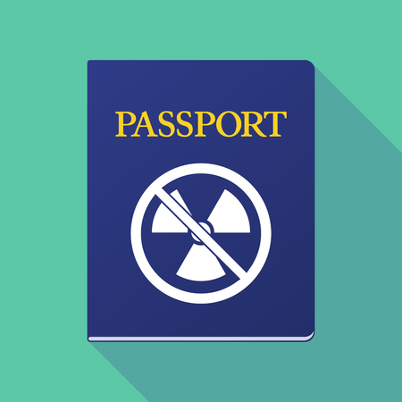 allowed to pass: Illustration of a long shadow  passport with  a radioactivity sign  in a not allowed signal