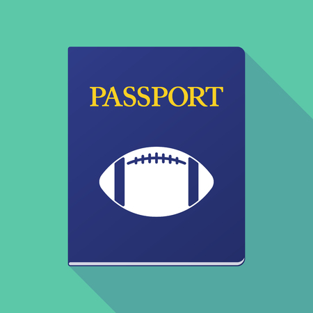 emigration: Illustration of a long shadow  passport with  an american football balloon
