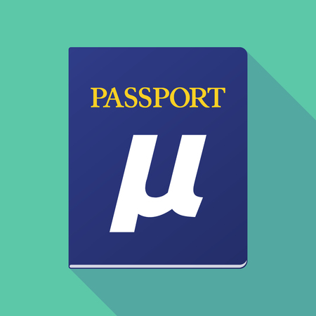 documentation: Illustration of a long shadow  passport with  a micro sign, mu greek letter