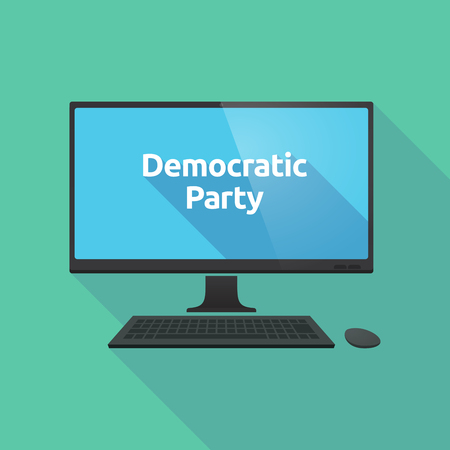 political party: Illustration of a long shadow personal computer with  the text Democratic  Party