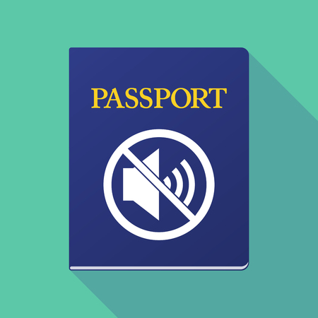 allowed to pass: Illustration of a long shadow  passport with  a speaker  in a not allowed signal