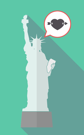 Illustration of a long shadow statue of liberty with a comic balloon and  a heart pierced by an arrow Illustration