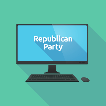 political party: Illustration of a long shadow personal computer with  the text  Republican  Party