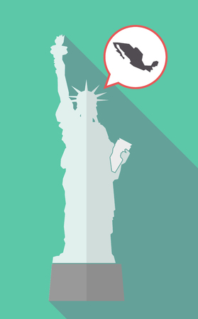 Illustration of a long shadow statue of liberty with a comic balloon and  a map of Mexico
