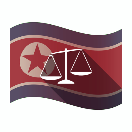 Illustration of a long shadow North Korea flag with  an unbalanced weight scale
