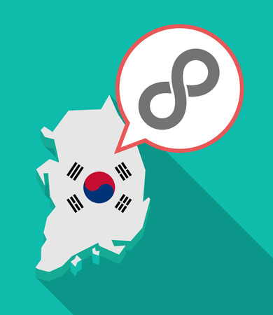 Illustration of a long shadow South Korea map, his flag and a comic balloon with an infinite sign Illustration