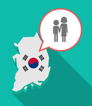 Illustration of a long shadow South Korea map, his flag and a comic balloon with a childhood pictogram