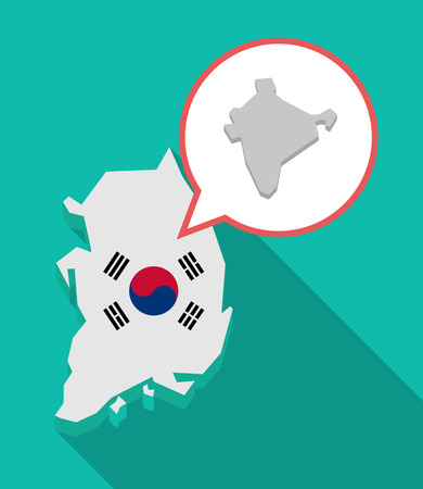 Illustration of a long shadow South Korea map, his flag and a comic balloon with  a map of India