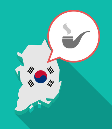 Illustration of a long shadow South Korea map, his flag and a comic balloon with a smoking pipe