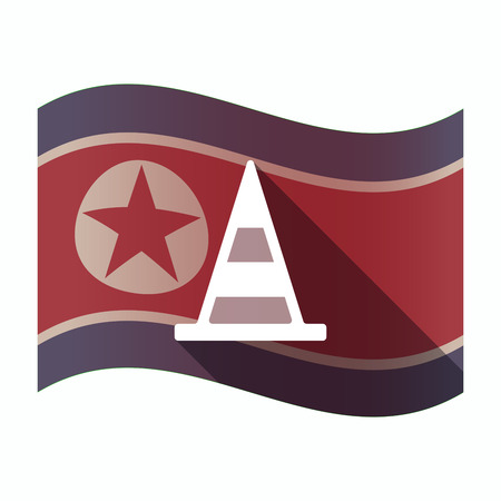 Illustration of a long shadow North Korea flag with a road cone Illustration