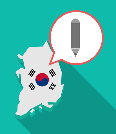 Illustration of a long shadow South Korea map, his flag and a comic balloon with a pencil