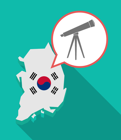 Illustration of a long shadow South Korea map, his flag and a comic balloon with a telescope