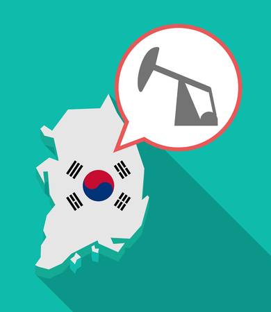 Illustration of a long shadow South Korea map, his flag and a comic balloon with a horsehead pump