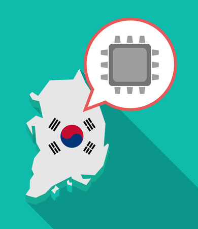 republic of korea: Illustration of a long shadow South Korea map, his flag and a comic balloon with a cpu