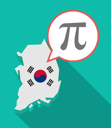 Illustration of a long shadow South Korea map, his flag and a comic balloon with the number pi symbol