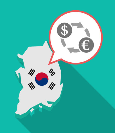 Illustration of a long shadow South Korea map, his flag and a comic balloon with a dollar euro exchange sign