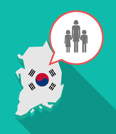 Illustration of a long shadow South Korea map, his flag and a comic balloon with a female single parent family pictogram Illustration