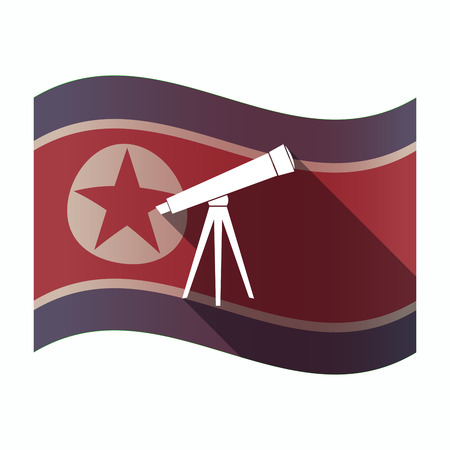 observation: Illustration of a long shadow North Korea flag with a telescope Illustration