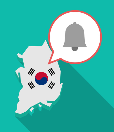Illustration of a long shadow South Korea map, his flag and a comic balloon with bell