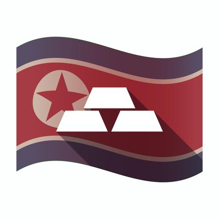 Illustration of a long shadow North Korea flag with three gold bullions Ilustrace