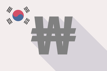 Illustration of a long shadow South Korea flag with a won currency sign Illustration