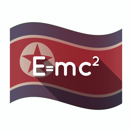 Illustration of a long shadow North Korea flag with the Theory of Relativity formula Illustration