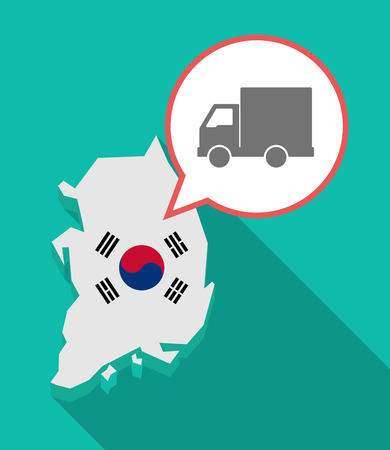 asian business: Illustration of a long shadow South Korea map, his flag and a comic balloon with a  delivery truck