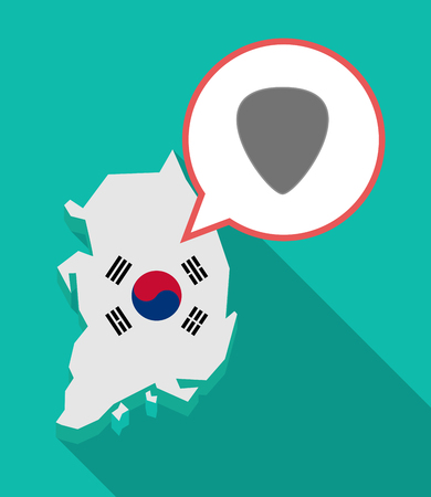 Illustration of a long shadow South Korea map, his flag and a comic balloon with a plectrum Illustration