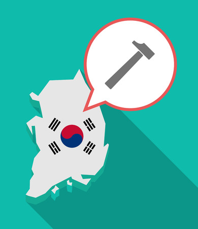 Illustration of a long shadow South Korea map, his flag and a comic balloon with a hammer