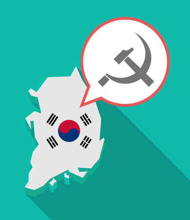 Illustration of a long shadow South Korea map, his flag and a comic balloon with  the communist symbol Illustration