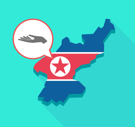offering: Illustration of a long shadow North Korea map, his flag and a comic balloon with a hand offering