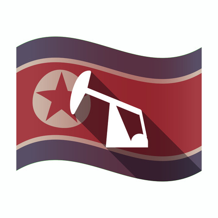 Illustration of a long shadow North Korea flag with a horsehead pump Illustration