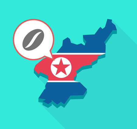 Illustration of a long shadow North Korea map, his flag and a comic balloon with a coffee bean