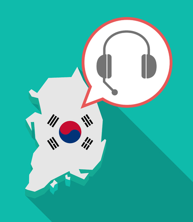 hands free device: Illustration of a long shadow South Korea map, his flag and a comic balloon with  a hands free phone device